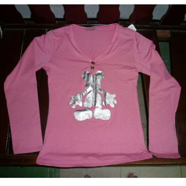 [全新] 桃紅 粉紅 V領長袖亮亮上衣 T恤