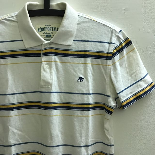 AEROPOSTALE條文Polo衫/A87/米白線條/純棉/XS