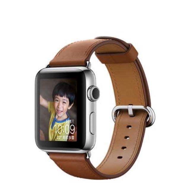第一代Apple Watch 38mm 不鏽鋼錶殼搭配馬鞍棕色經典扣式錶帶