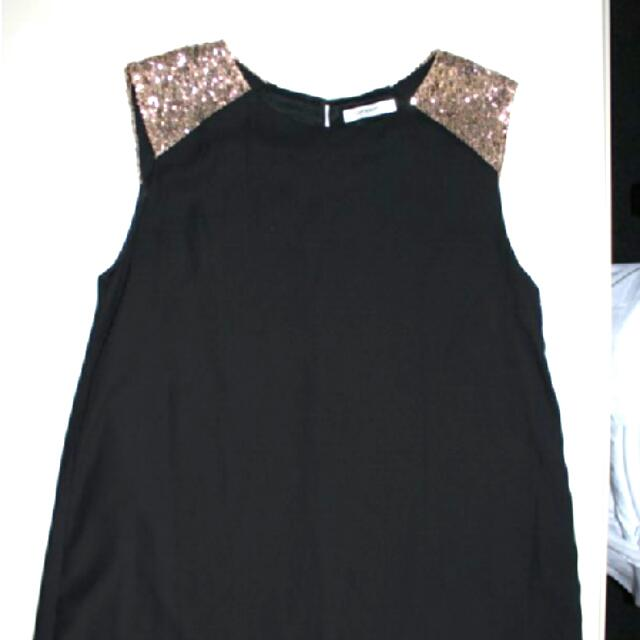Black And Gold Sequence Dress Size 10 (Paperscissors)