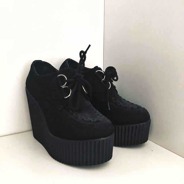 Black London Rebel Platform Shoes.