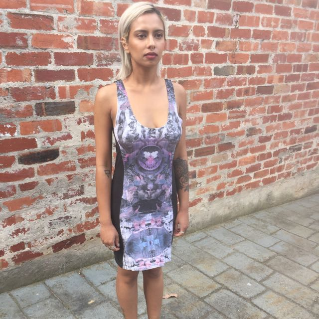 Black Psychedelic Print Dress