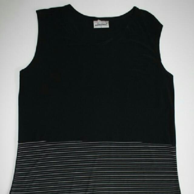 Black With Stripes Singlet Top Size Large