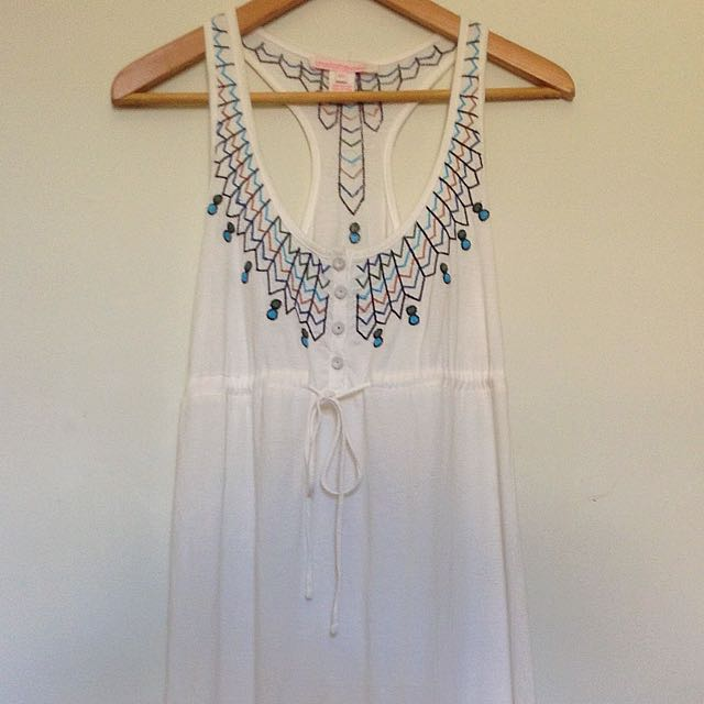 Charlotte Ronson Embroidered White Cotton Summer Dress Size XS