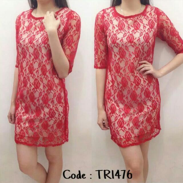 Dress # L kecil bust 96 Brukat import 1 Warna 1 Ukuran