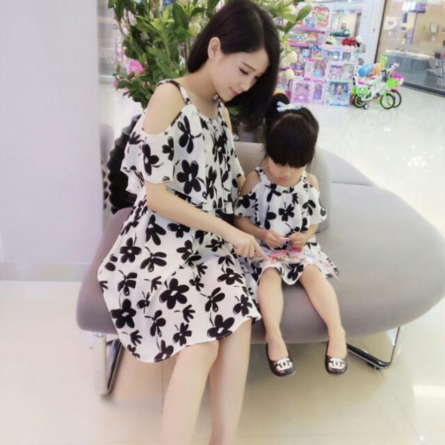 Dress Couple Bunga Ibu Dan Anak Babies Kids Girls Apparel On