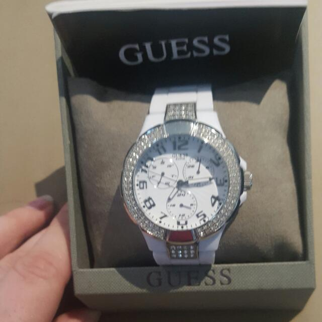 Genuine White And Silver Guess Watch
