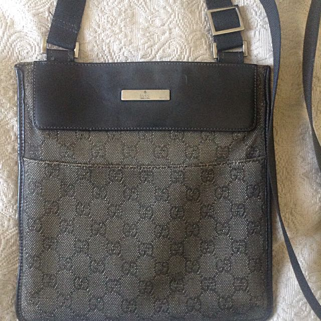 Gucci Cross Shoulder Bag, Logo Embroidered And Leather