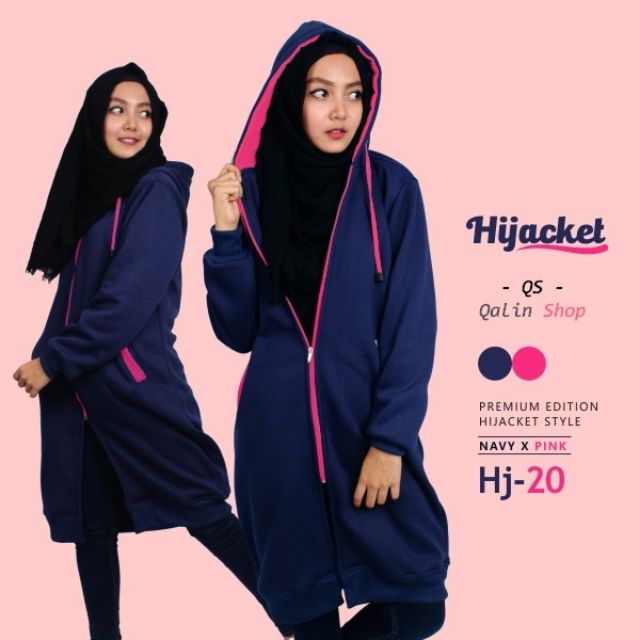 Hijacket Navy x Pink HJ19  Jaket Syar i  Jaket Muslimah Jaket Cewek ... 806118150b