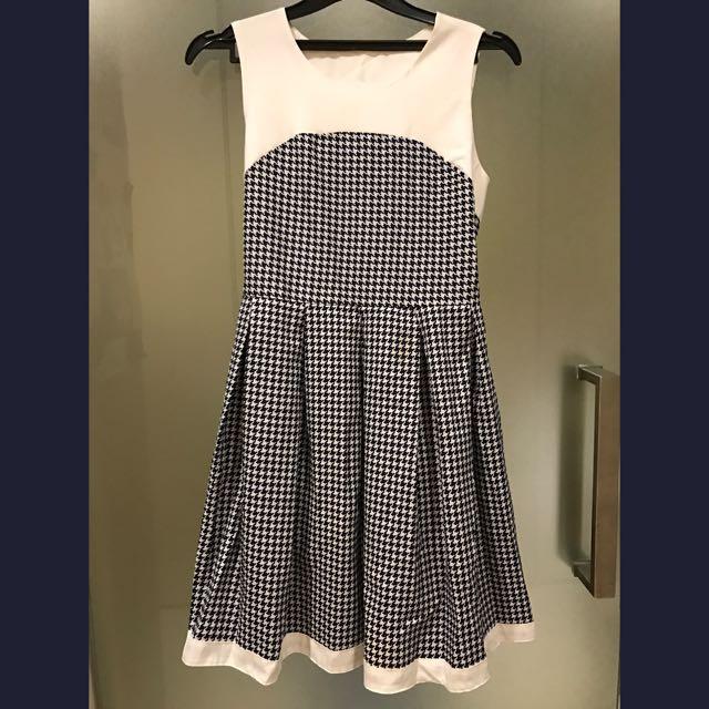 houndstooth navy dress