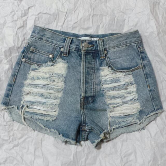Minkpink Mink Pink Ripped Denim Shorts