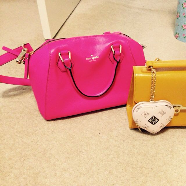 New Kate Spade Leather Bag And Small Yellow Bag