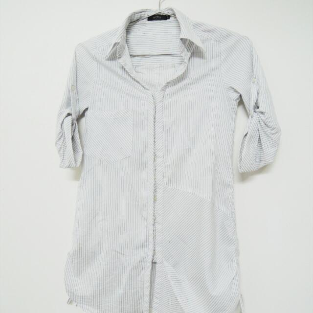 Nichii White Striped Blouse