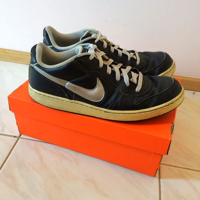 Nike Black Silver Tumbled Leather Shoes
