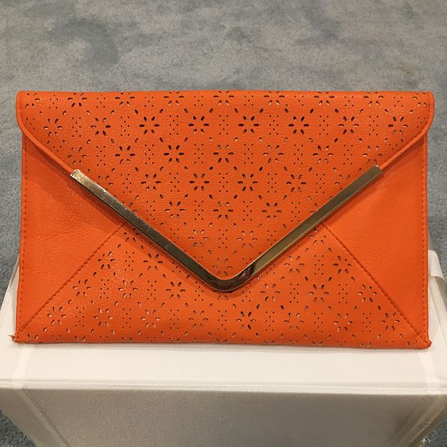 Orange Clutch With Gold Chain
