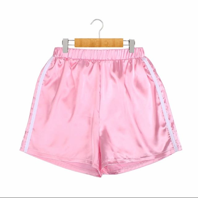 Pink Adidas Style Satin Silk Shorts