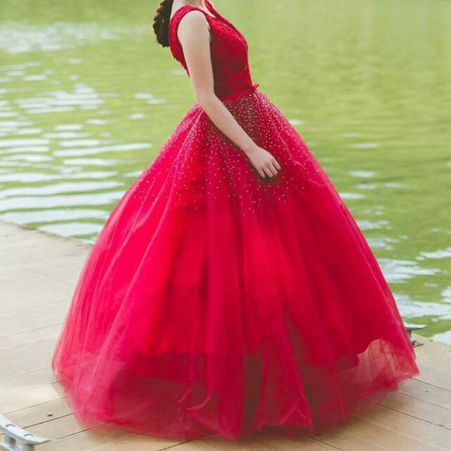 Red Colour Wedding Dress With Deep V Women S Fashion Bridal Wear On Carousell,Affordable Wedding Dresses Uk