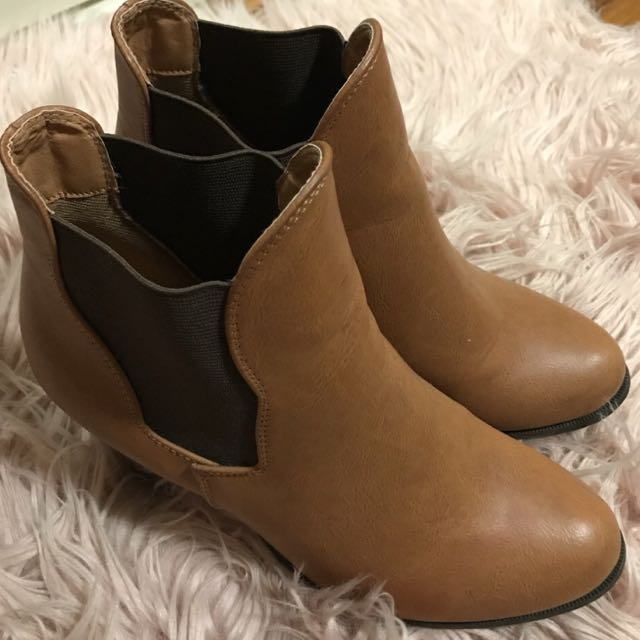 Rubi Shoes Brown Leather Boots/heels