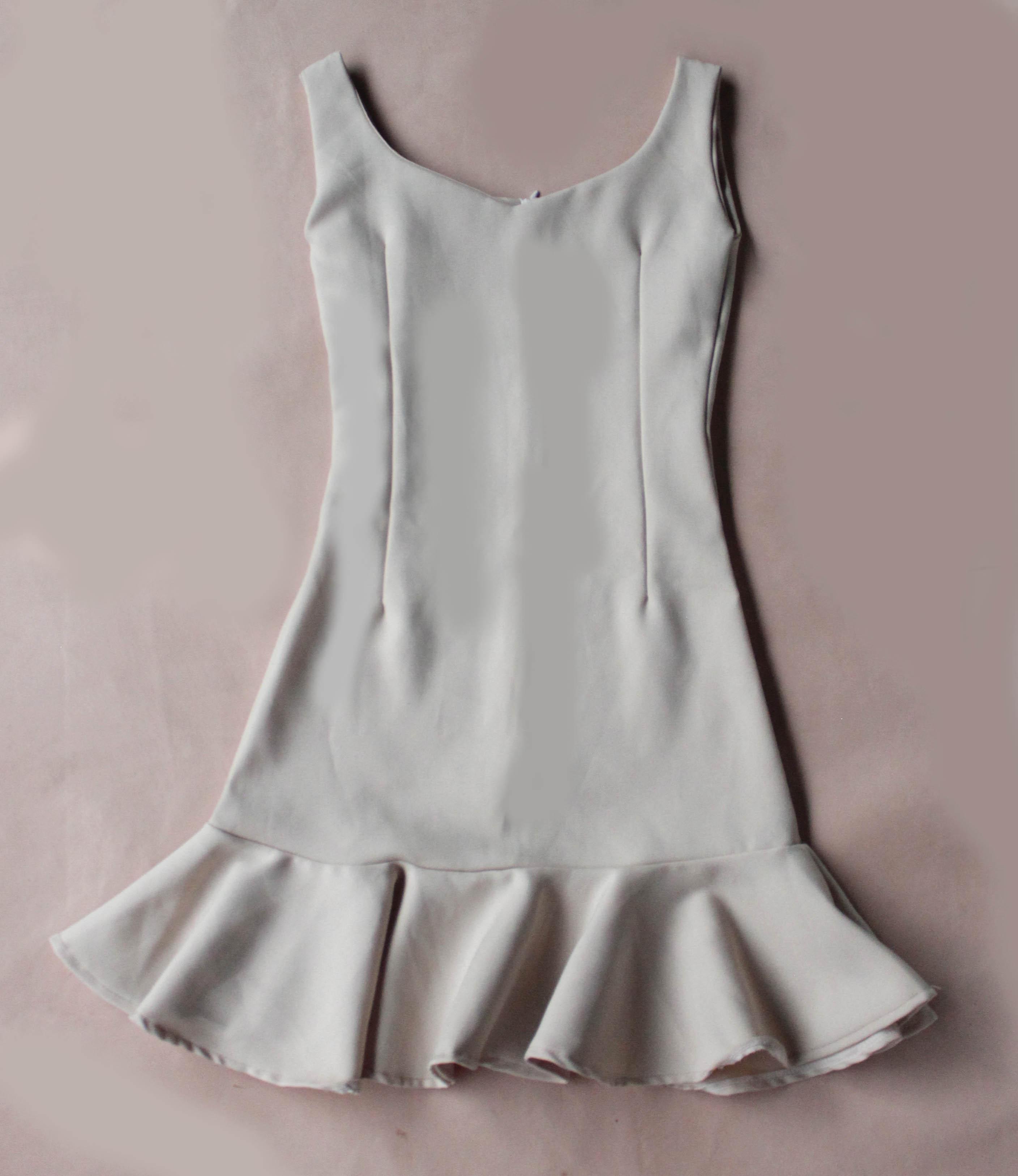 Ruffle Beige short Dress