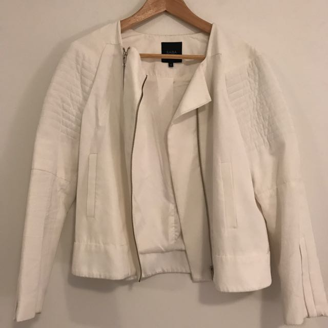 Saba White Biker Jacket