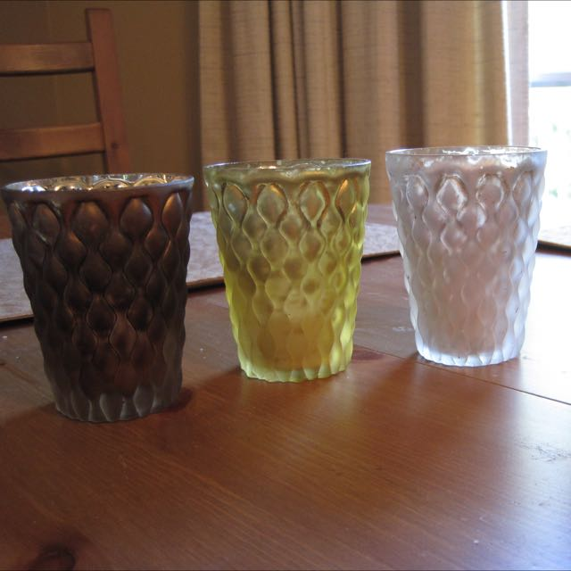 Set Of 4 Mercury Glass Tealight Candle Holders