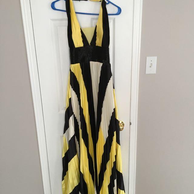 Stripped Halter Gown