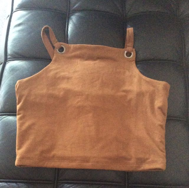 Suede Cropped Top Coffee Colour