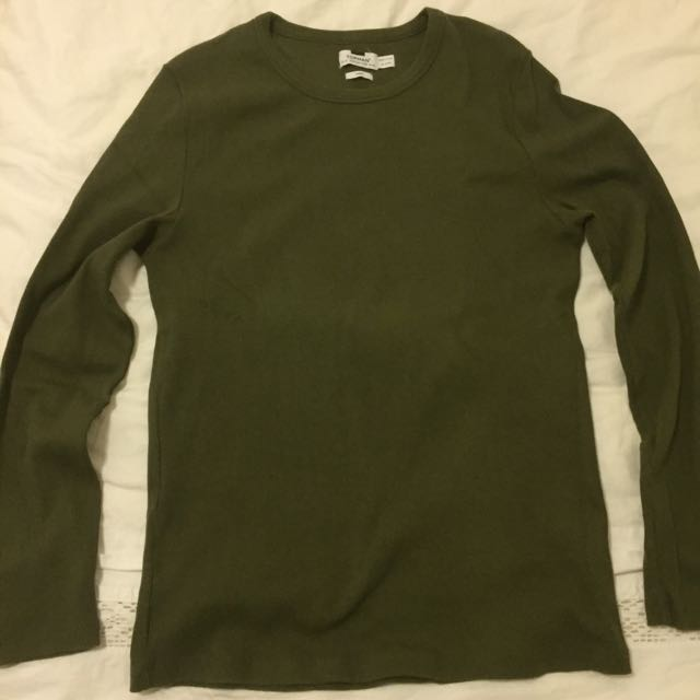 Topman Olive Long Sleeve Shirt