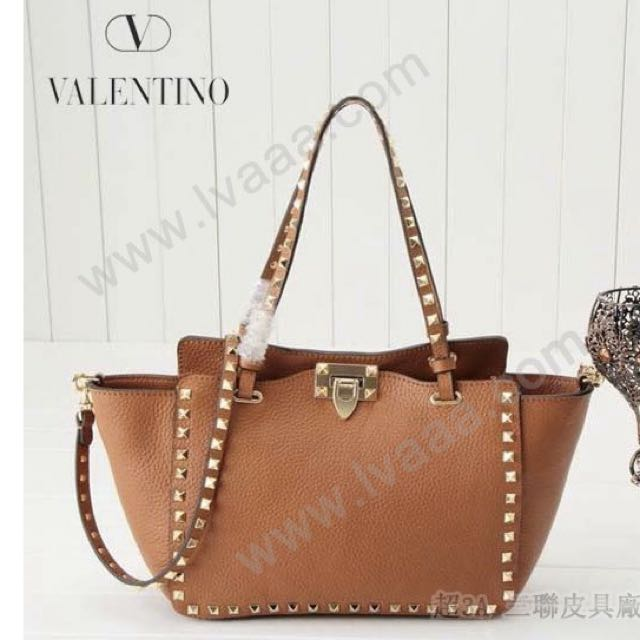 Valentino Rockstud Medium Grained Tote Bag (Brown)
