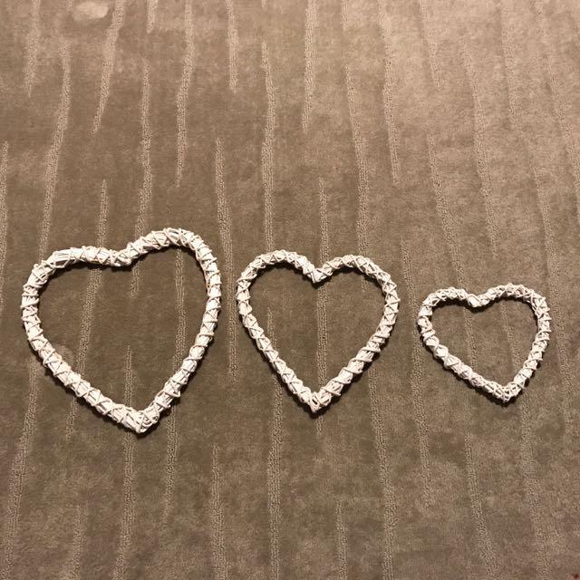 Wicker 3 Heart Set Decorative Piece