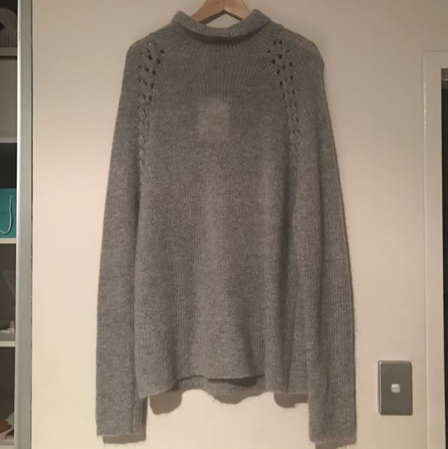 WITCHERY Grey Sweater With Lace Up Detail