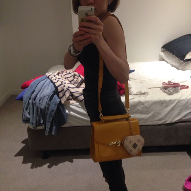Yellow Faux Leather Bag