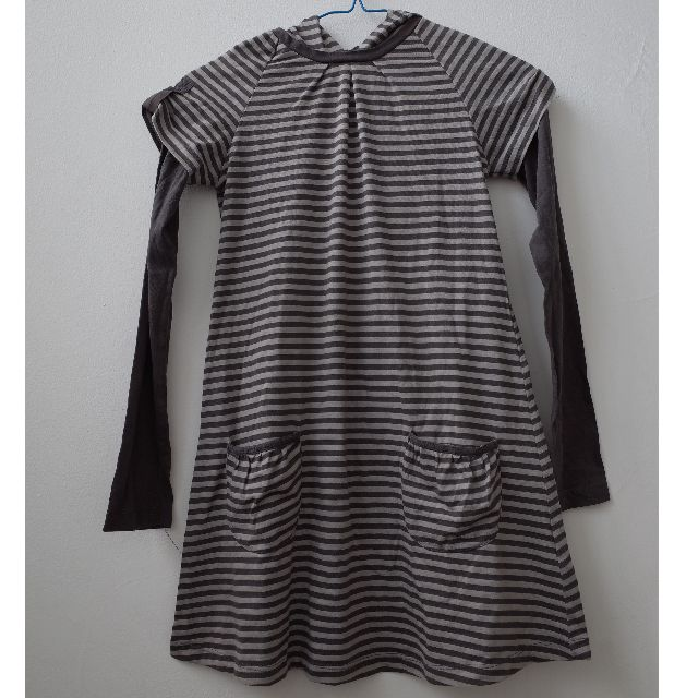 Zara Kids Tshirt Dress Stripes Grey with Hoodie