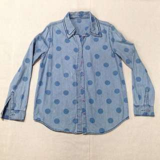 Polkadots Faded Denim Polo