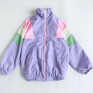 Pastel Patchwork Windbreaker 90s
