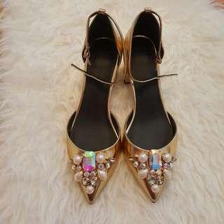 Jewelled Ankle Strap Heels