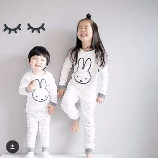 🌟INSTOCK🌟 Bunny 2pc Long Sleeves PJ Pajamas Tee Tshirt and Long Pants for Baby Toddler Boy and Girl
