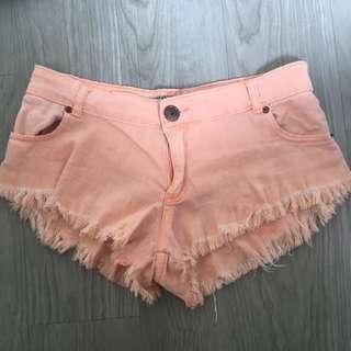 Orange Cut Off Shorts