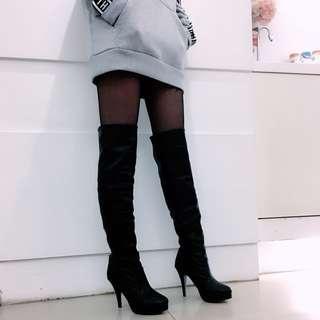 ✨膝上高跟皮靴👠內刷毛✨