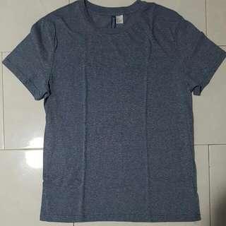 Heather Blue H&M Plain Basic Shirt