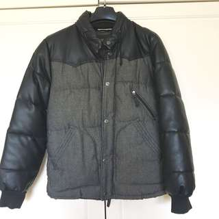 Zara Denim Label Puffer Jacket With Leather Sleeves