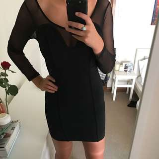 Black Long Sleeve Mesh Dress