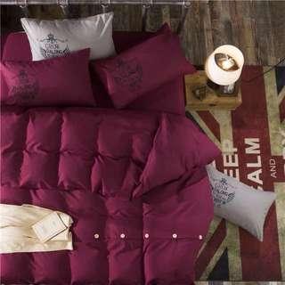 酒紅色床套組