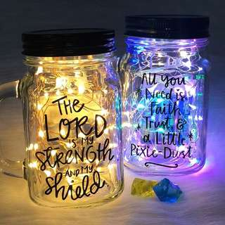 🔹Christian Personalised Mason Jar Gifts Quote Verse Cooper Wire Fairy Lights Proverb Niv Bible Chapter Psalm Easter Church Holy Pray Blessing Birthday Christmas present🌟✨