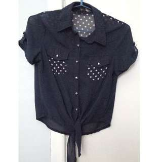FREE: Cute Cropped Navy Blouse