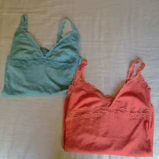 Coral And Light Turquoise Singlets With Lace Trimming