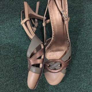 Strappy Tan And Green Closed Heels