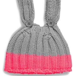 英國NEXT,粉色/灰色小兔針織帽(美規3-6M)