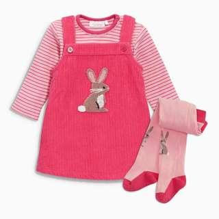 英國NEXT, 小兔子桃紅吊帶裙3件組(美規3-6M)