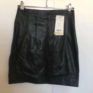 Real Leather A-line Skirt